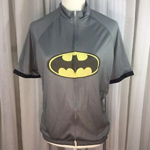 Eclipse Cycling L Batman Logo Gray Bike Jersey Short Sleeve NWT