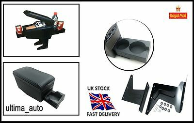 Black Armrest Arm Centre Console for BMW 3 5 E30 E32 E34 E36 E46 w CUP HOLDERS