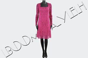 DOLCE-amp-GABBANA-2750-Authentic-New-Pink-Cotton-Blend-Lace-Shift-Dress