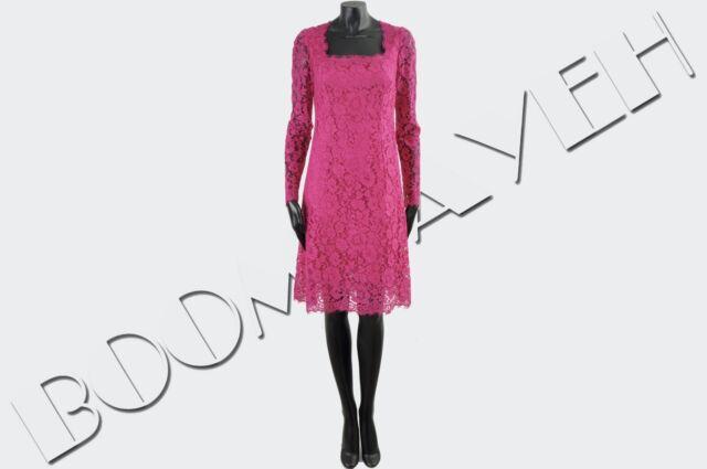 DOLCE & GABBANA 2750$ Authentic New Pink Cotton Blend Lace Shift Dress