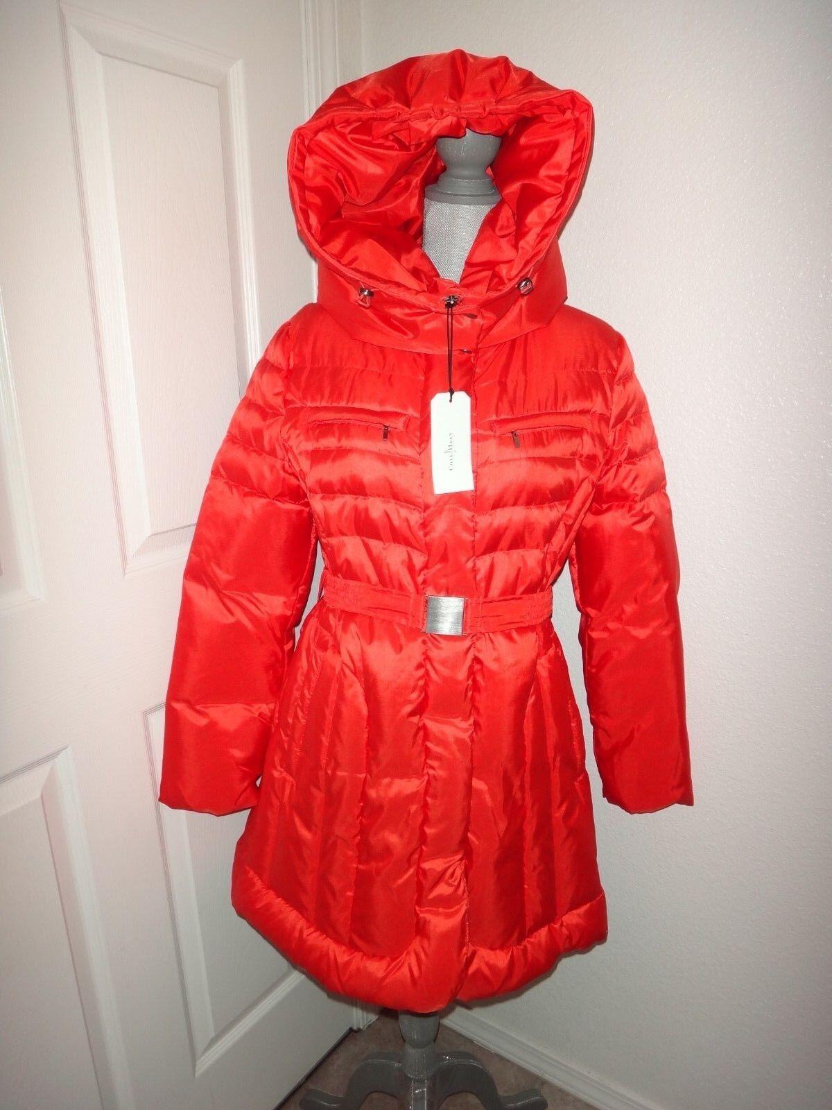COLE COLE COLE HAAN Women's Sheen DOWN Coat Belt Congreenible Hood Red orange Puffer Size L 1c1580
