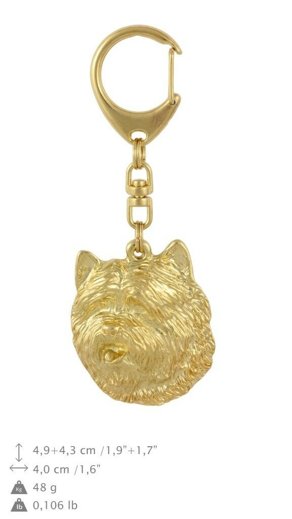 Cairn Terrier - gold covered keyring with dog, high quality, keychain Art Dog