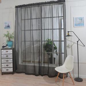 1 Panel Rod Pocket Window Voile Sheer Curtain Valance For Sliding
