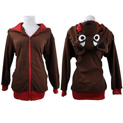 Cute Cosplay Anime Costume Ears Face Tail Zip Hooded Sweatshirt Hoodies Jacket