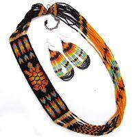 Black Seed Beaded Necklace Earrings Set Turtle Beadwork S53/2 (pack Of 4 Sets)