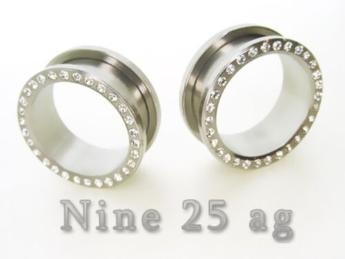 "PAIR OF 5//8/"" inch 16MM GEM FLESH TUNNELS w//stones EARLET PLUGS TUNNEL"