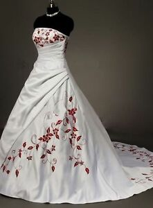 f066b7e363 Hot Strapless White Red Embroider Bride Wedding Dress Stock Size 6 8 ...