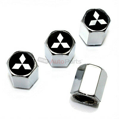 (4) Mitsubishi Silver Star Logo Chrome ABS Tire/Wheel Stem Valve CAPS Covers