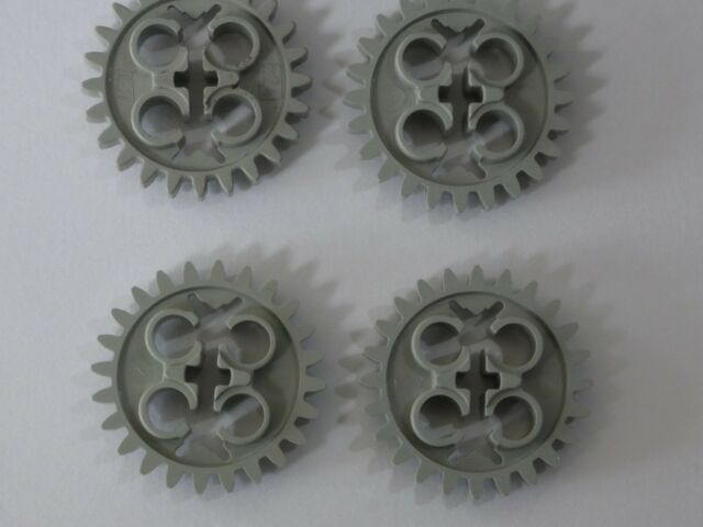 LEGO 4 Technic Gears 24 Tooth New Style Single Axle Hole LIGHT GRAY STAR WARS