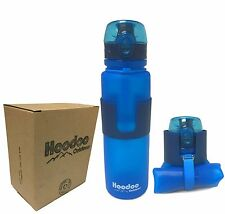 Hoodoo Outdoors Collapsible Water Bottle - Pop Top - BPA Free - 22 Ounce - BLUE