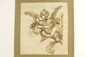 Engel-Putten-mit-Schriftrolle-Altmeisterzeichnung-Buetten-Tinte-laviert-um-1650