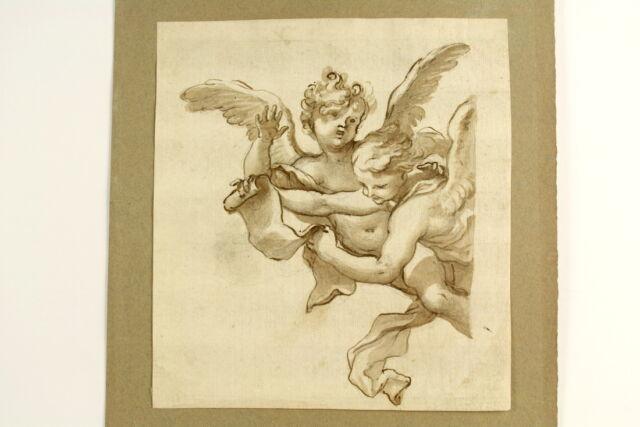 Engel / Putten mit Schriftrolle Altmeisterzeichnung Bütten Tinte laviert um 1650