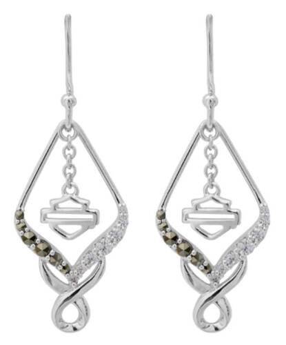 Harley-Davidson Women/'s Salt /& Pepper Twist Embellished Drop Earrings HDE0471