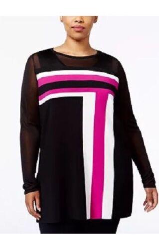 Maten International Concepts Zwart Plus Roze shirt Colorblock Inc T Tuniek wZ7tqaSnw
