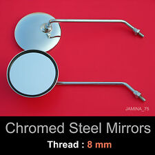 Honda Cub C50 C65 C70 C90 CM90 CM91 8mm Chrome Steel Metal Mirror Round Pair