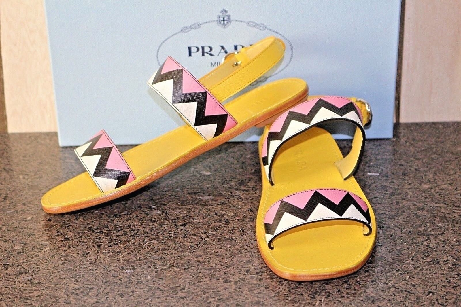 NIB Authentic PRADA BRIGHT PINK YELLOW STRAPPY BUCKLE SANDALS shoes 37.5