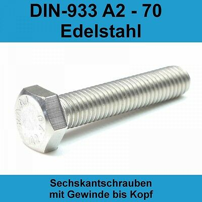 Sechskantschrauben Niro M3 Edelstahl A2 A4 DIN 933 Maschinen Gewinde Schrauben