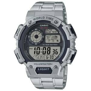 7b8188527e52 Casio AE1400WHD-1AV Men s Metal Band World Time 5 Alarms Chrono ...