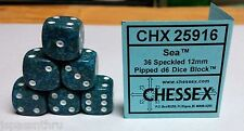 CHESSEX 12mm SPECKLED DICE BACK IN STOCK- SEA w/WHITE PIPS! SMALL SIZE! DIVE IN!