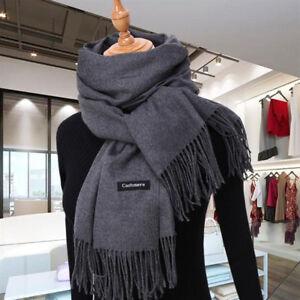 New Fashion Men s Winter Warm Gray 100% Cashmere Pashmina Long Soft Neck  Scarf 86e6aca90fe