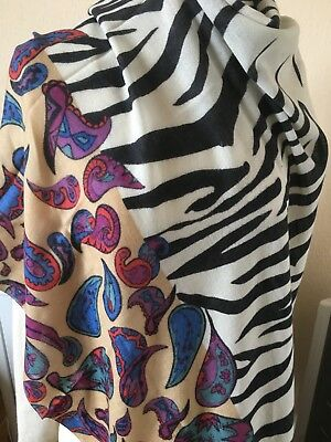 100% Cashmere Yarnz Grande Scialle Paisley/zebra Design- Garanzia Al 100%