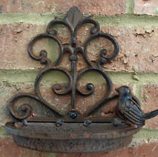 Cast Iron Wall Mounted Vintage Small Bird Bath Feeder Shabby Chic Garden New