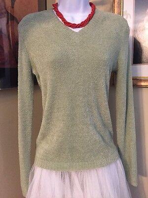 Knit Fit ULTRA Soft Pale Green Velour V-Neck Long sleeve Sweater Size M NEW WOT