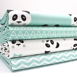 Matieres-Grasses-Quarts-Paquet-Panda-Aqua-X-4-100-Tissu-Coton-Enfants