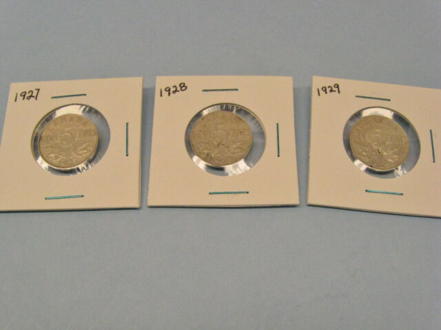 Lot of 3 Canada Canadian  Nickel 5 Cents   1927, 1928, 1929