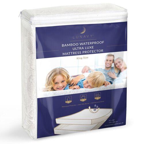 ▶ Premium Bamboo Waterproof Mattress Protector King Size Machine Washable Pad