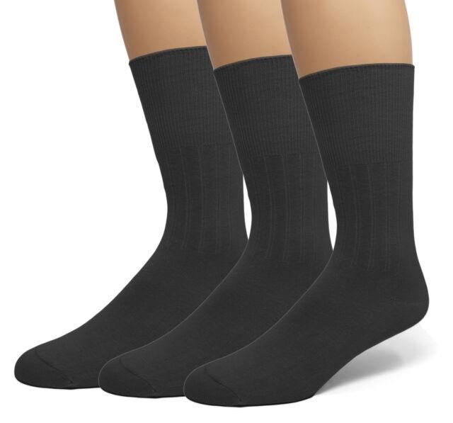 Black Large Top Flite Mens Diabetic Non-Binding Dress Crew Socks 2 Pack