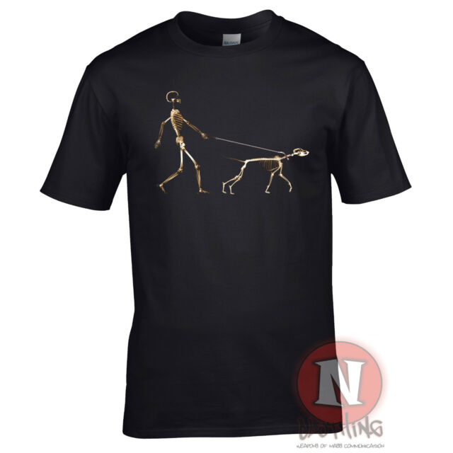SKELETON DOG WALKER canine doggy funny urban art Banksy style t-shirt