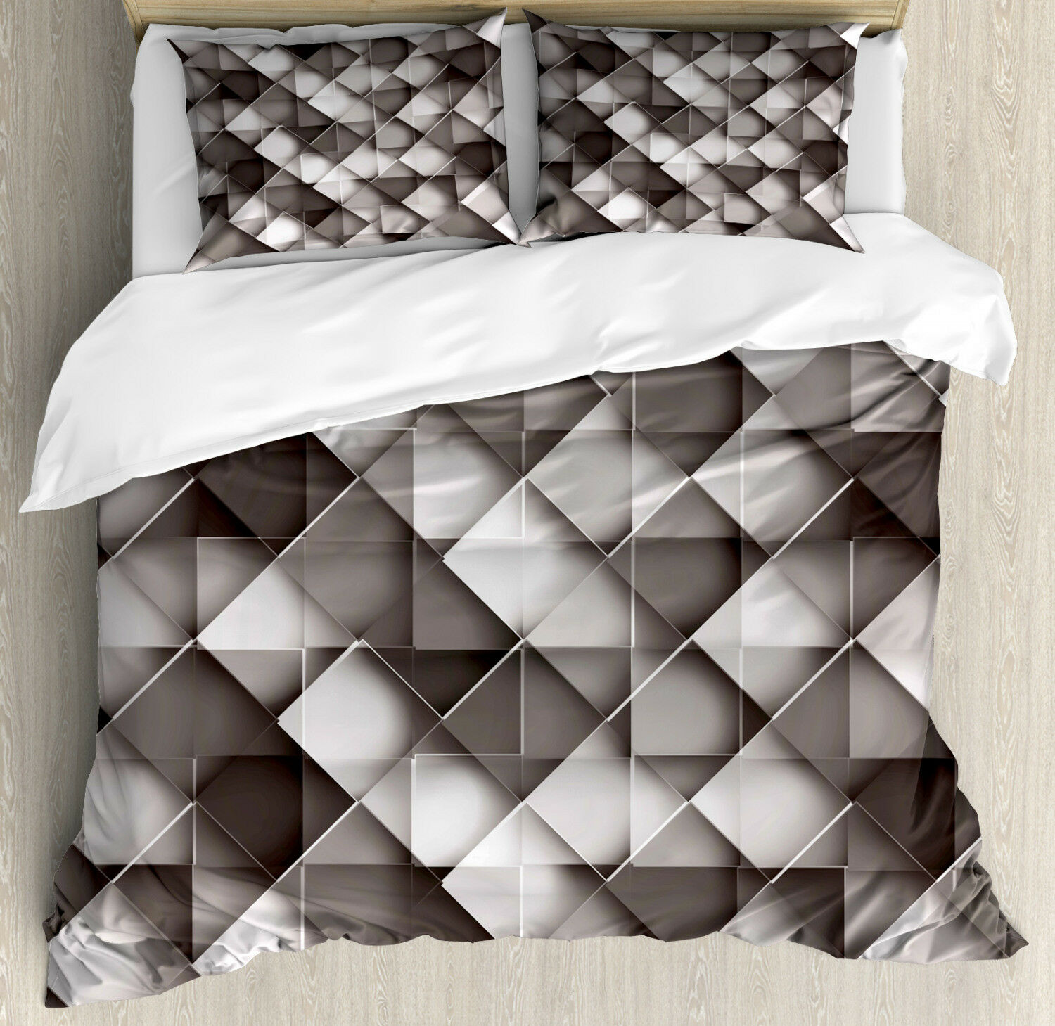 Geometric Duvet Cover Set with Pillow Shams grigio Ombre Squares Print