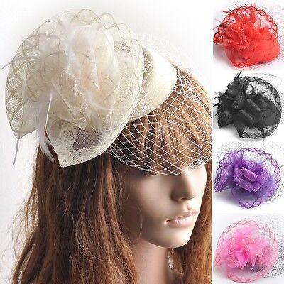 Women Hair Clip Accessory Wedding Cocktail Fascinator Veil Pillbox Hat Feather