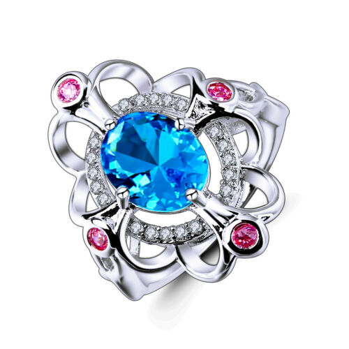 Fashion Ovale Cut Blue Pink Topaz Gemstone Silver 925 Ring Taille 6 7 8 9 10 11 12