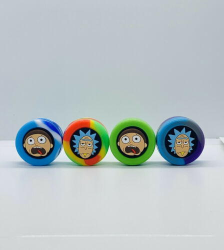 Fast shipping 2 pieces 6ml Rick /& Morty Wax Silicone Container Jar Non-Stick