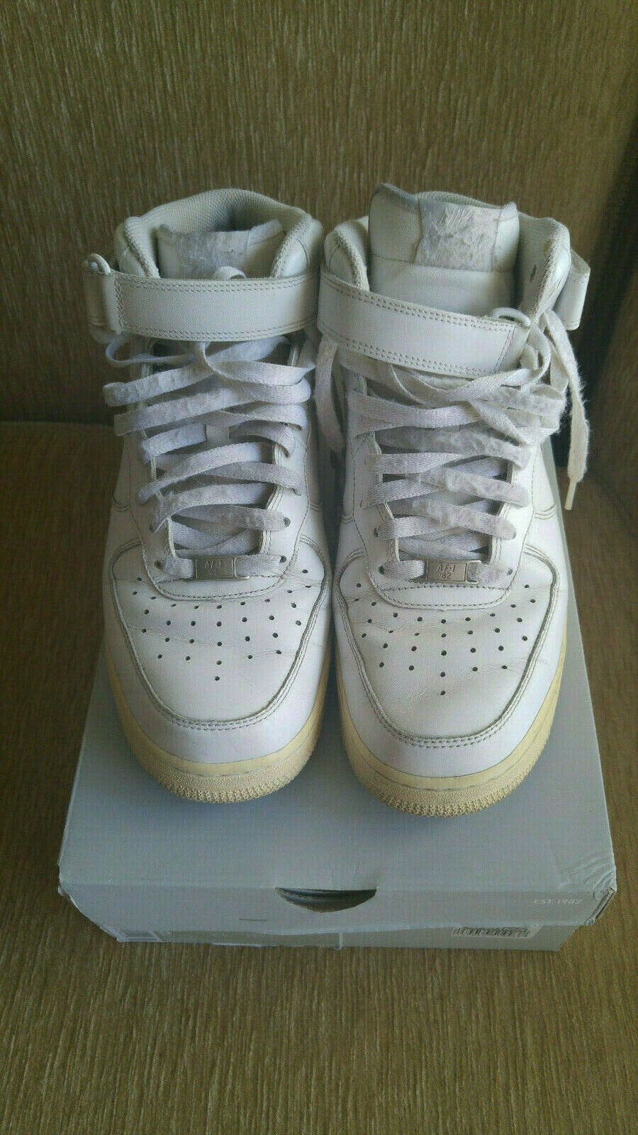 Nike white mid-top Air Force 1 sneakers, 9