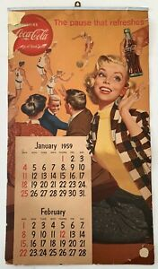 Original 1959 Coca Cola Advertising Calendar - Awesome Gil Elvgren Art!