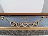 Monet Gold & Clear Crystal Multiple Heart Statement Bracelet, Stunning