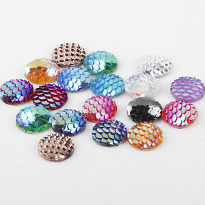 20-50-100PCS-Flatback-Resin-Mermaid-Fish-Scale-Beads-Cabochon-Craft-Pieces-12mm