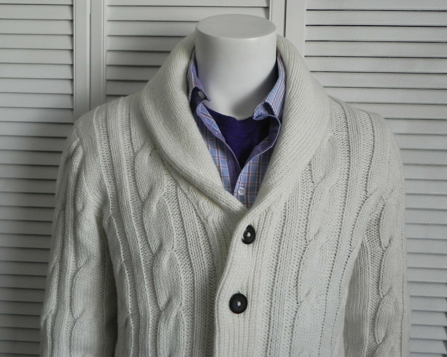 NEW Mens 2XL ALPACA Ivory White Knit Shawl Collar Cardigan Cable Sweater PERU