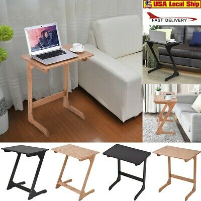 Portable Sofa Bedside Table Couch End Pc Laptop Desk Bamboo Coffee Ebay