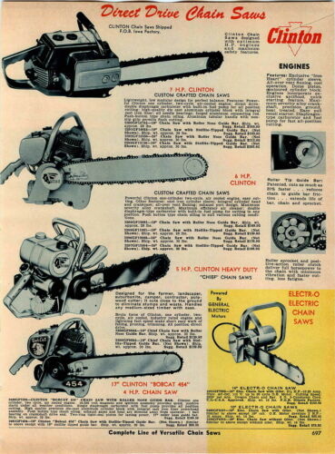1967 ADVERT Clinton Chain Saw 7 HP 4 Images Models