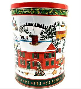 1995-Trail-End-Gourmet-Popcorn-Tin-Christmas-Holiday-Collectible-Tin-Hal-Kattau