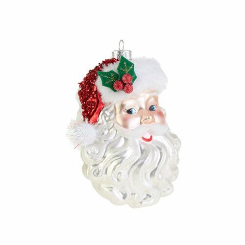 "Raz 5/"" Santa Face Glass Christmas Tree Ornament 3852932"