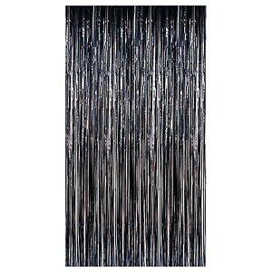 Image Is Loading BLACK PARTY HALLOWEEN PLASTIC FRINGE DOOR CURTAIN  DECORATION