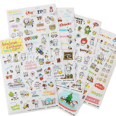 6 Sheet Diary Decoration Stickers Colorful Cute Cartoon Cat Kids Label Scrapbook