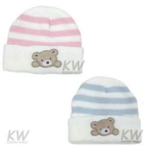 fbea9b2af Details about Baby Hat Girls Boys Winter Striped Knitted Teddy Bear Pink  Blue 0-3 3-6Mth Pesci