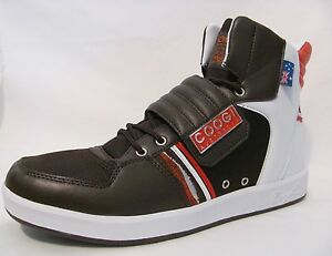 New-Coogi-Brown-Red-Leather-Hightop-Mens-Youth-10-5-Sneakers-Sports-Shoes