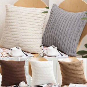Image Is Loading Knitting Throw Pillow Cases Cafe Zipper Zip Up
